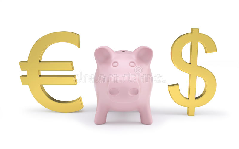 Download Piggy Bank Next To Dollar And Euro Signs Stock Illustration - Image: 27108960
