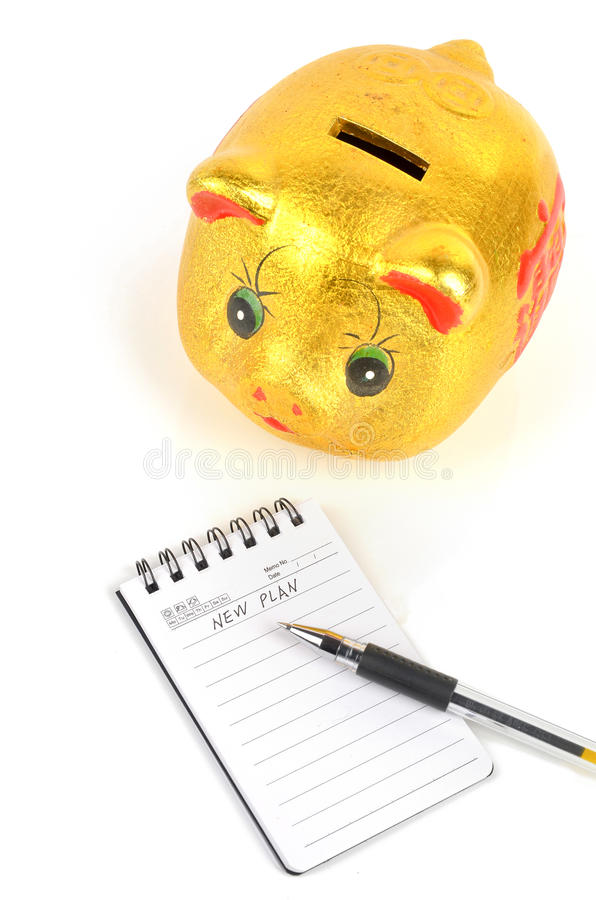 Download Piggy Bank And Notepad Stock Photo - Image: 23451530
