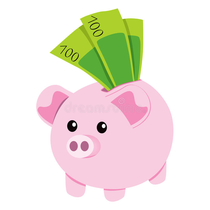 Download Piggy Bank and Notes stock vector. Image of piggy, ceramic - 24202887