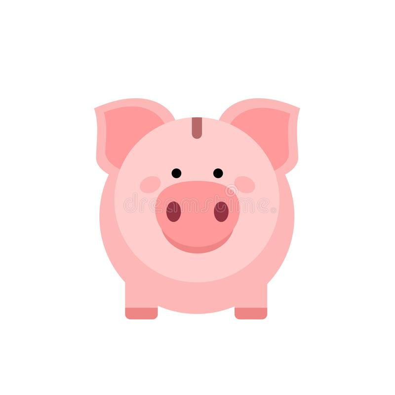 Piggy Bank odizolowany od białego tła Oszczędzanie lub gromadzenie pieniędzy za pomocą ikony świni ilustracji