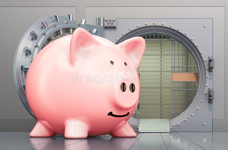 Piggy bank with opened bank vault, 3D rendering. Piggy bank with opened bank vault, 3D royalty free illustration