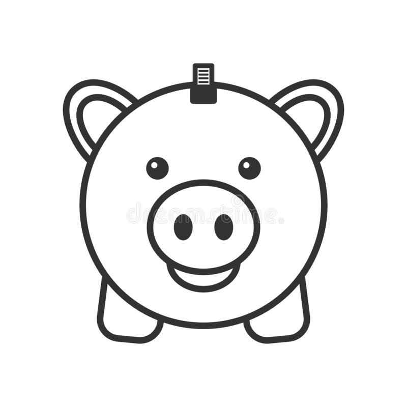 Piggy Bank with Coin Outline Flat Icon. Piggy bank outline flat icon with coin, isolated on white background. Eps file available vector illustration
