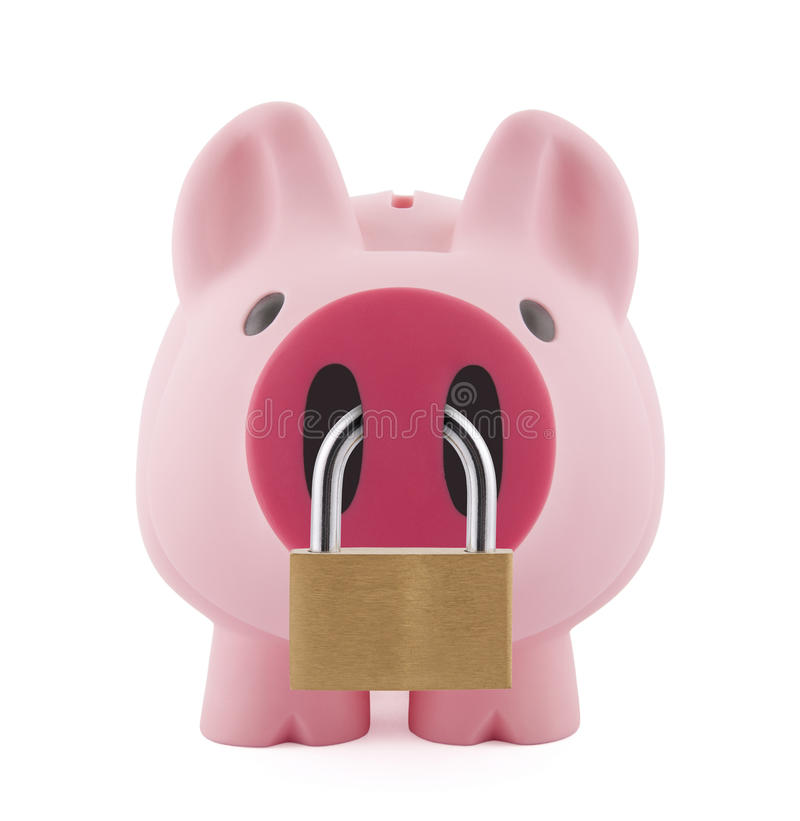 Download Piggy bank with padlock stock photo. Image of profit - 22575718