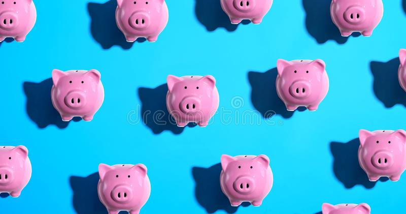 Piggy bank pattern. Overhead view flat lay royalty free illustration