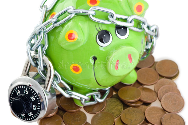 Download Piggy bank and pennies stock photo. Image of padlock, smile - 5823508