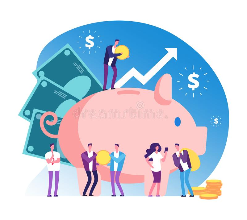 Piggy bank and people. Deposit money bank, wealth and cash accumulator financial vector concept vector illustration