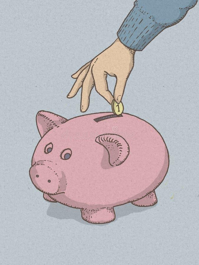 Piggy bank piggy bank illustartion with hand inserting money for economic savings. royalty free illustration