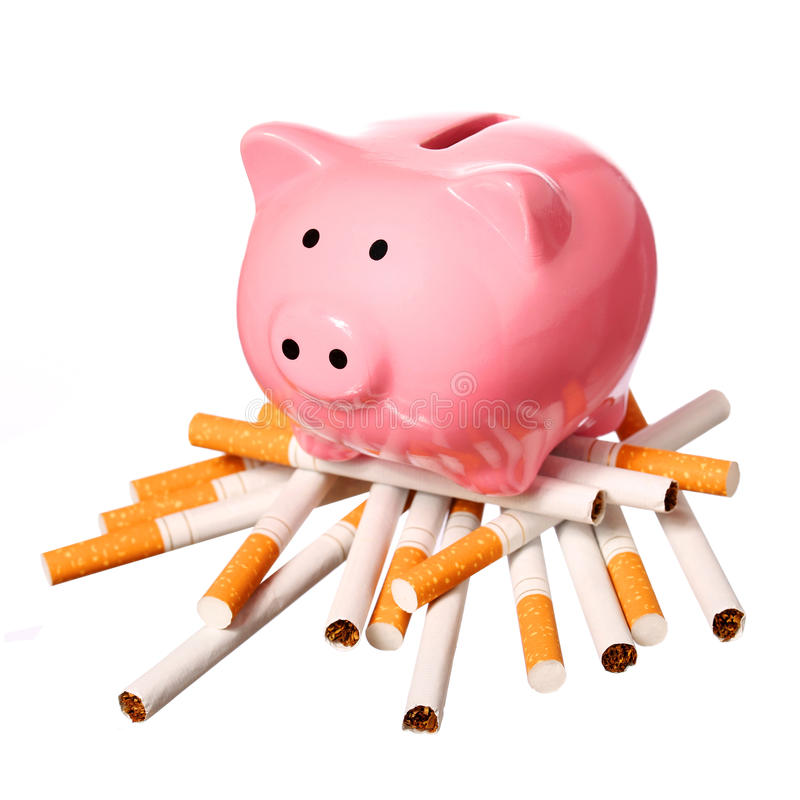 Piggy Bank on pile of Cigarettes isolated on white. Concept. Of Savings stock images