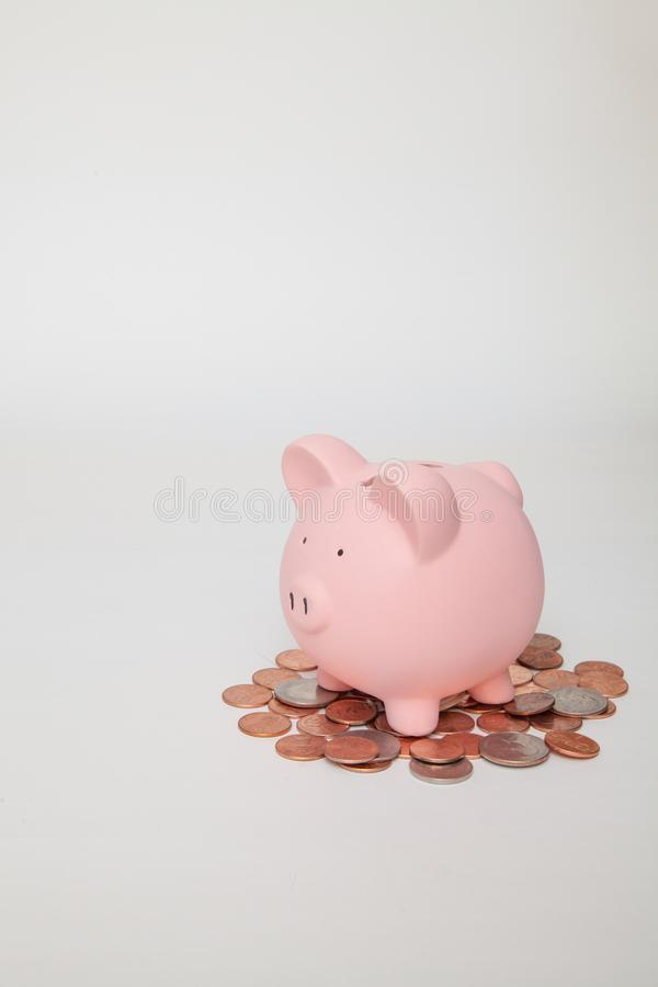 Piggy Bank on pile of coins royalty free stock images