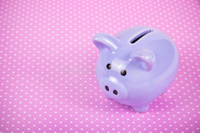 Piggy bank on pink background. Little pig. Toy pig. Pig year symbol. royalty free stock photography