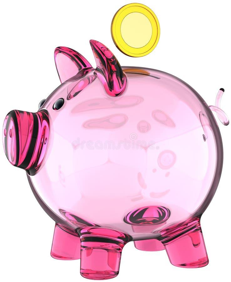 Piggy bank pink glass translucent