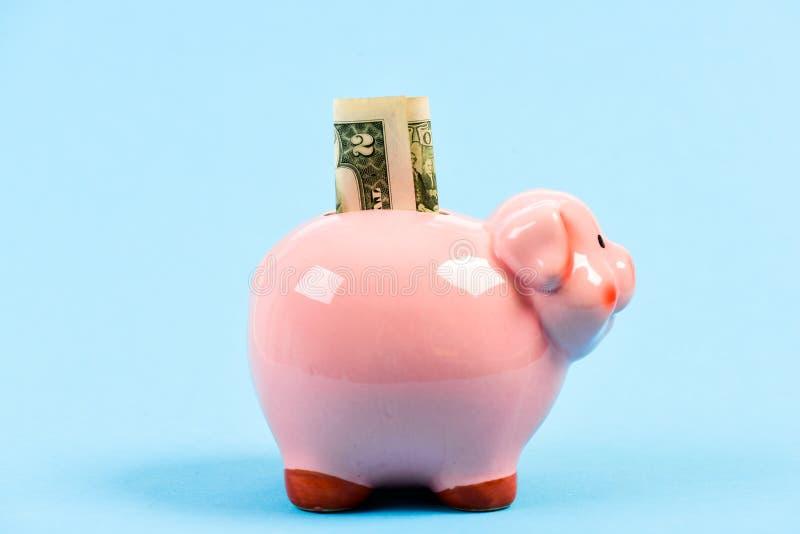 Piggy bank pink pig stuffed dollar banknote cash. Save money. Economics and finance. Credit concept. Money saving. Banking account. Earn money salary. Money stock photography