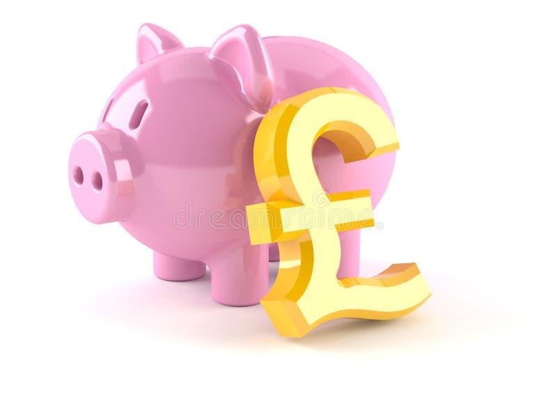 Piggy bank with pound symbol stock illustration