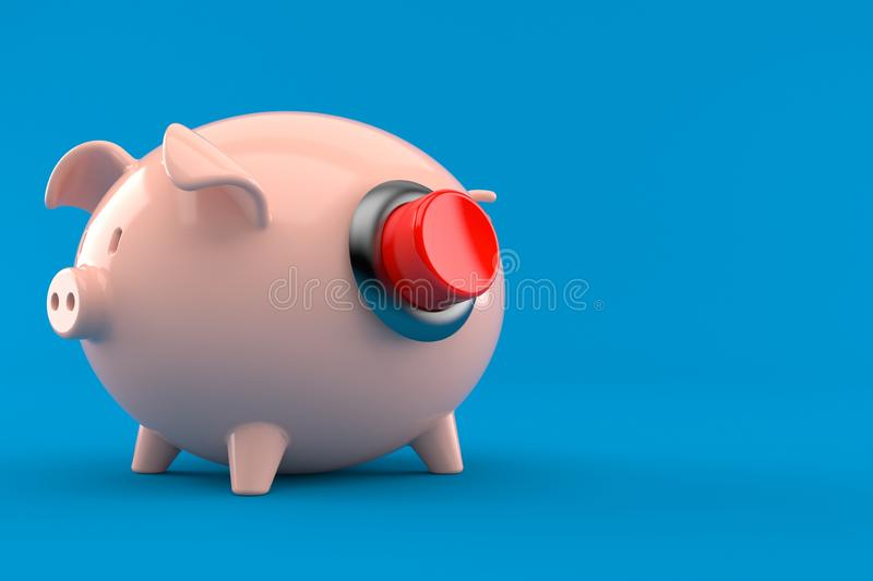 Piggy bank with push button vector illustration