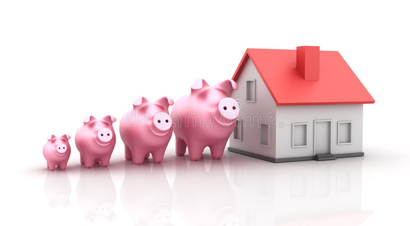 Piggy Bank and Real Estate royalty free illustration