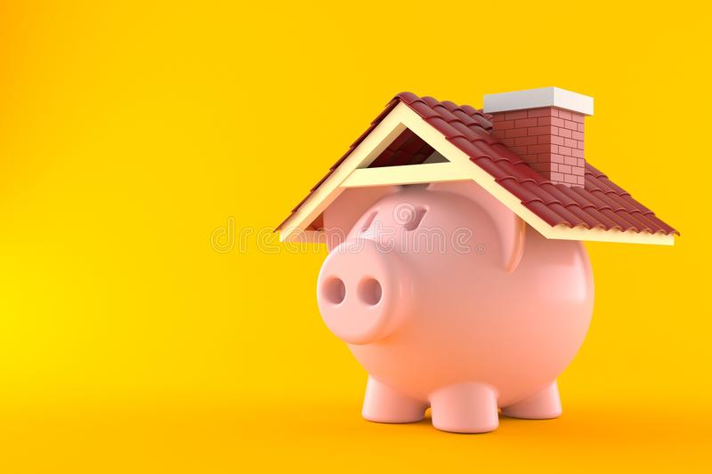 Piggy bank with roof. On orange background royalty free illustration