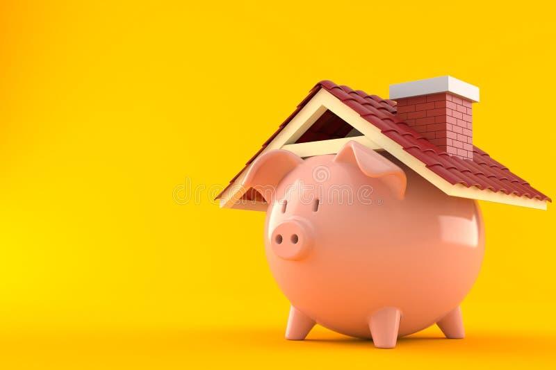 Piggy bank with roof. On orange background stock illustration
