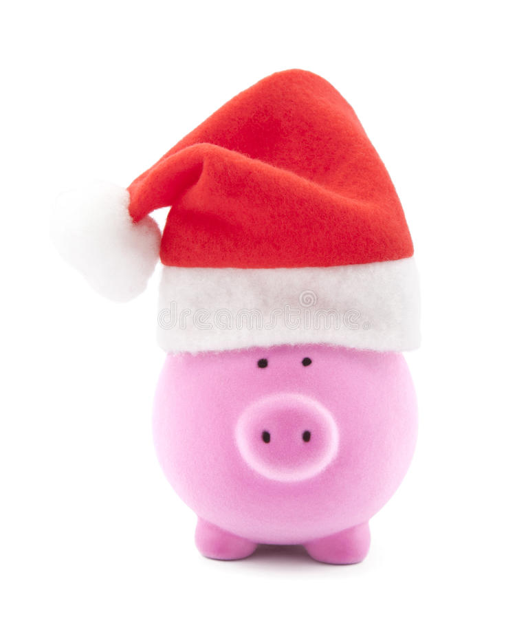 Download Piggy Bank With Santa Claus Hat Stock Photo - Image: 17312322