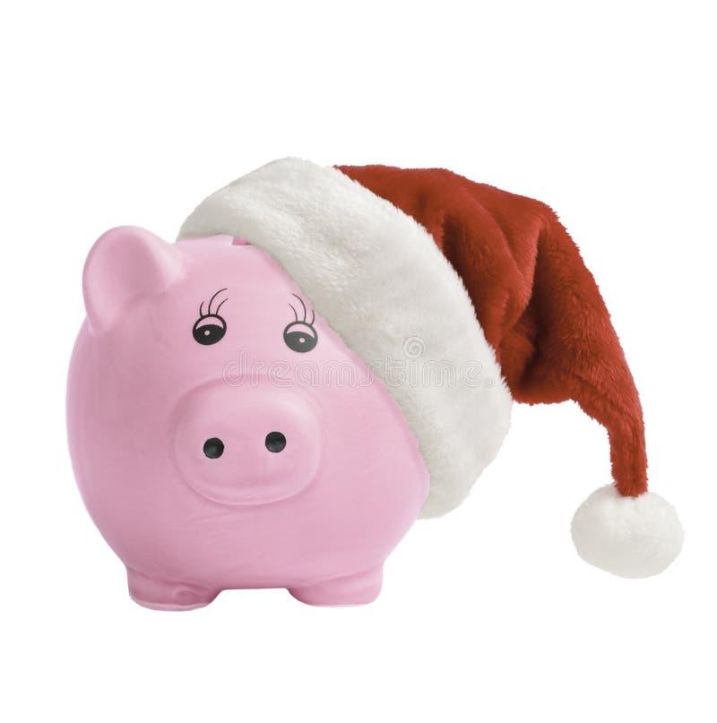 Piggy Bank With Santa Hat royalty free stock image