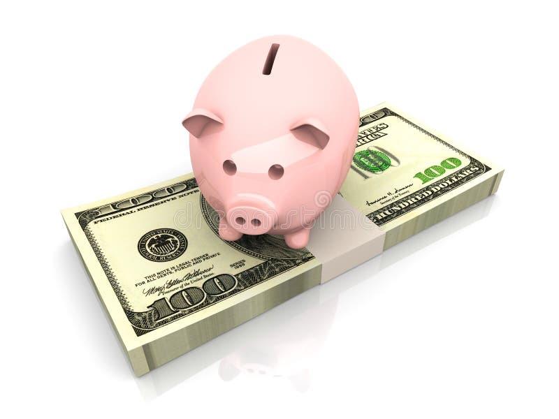Piggy bank saving Dollars royalty free illustration