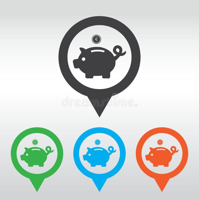 Piggy bank - saving money. icom map pin.  vector illustration