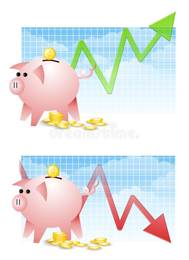 Download Piggy Bank Savings Up Down stock vector. Illustration of financial - 4882633