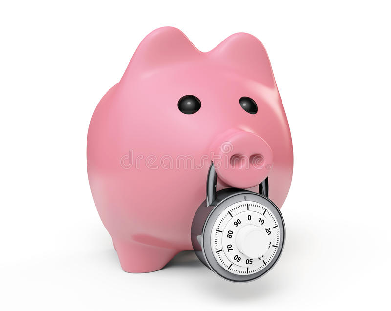 Piggy bank secured with combination lock stock for Large piggy bank with lock