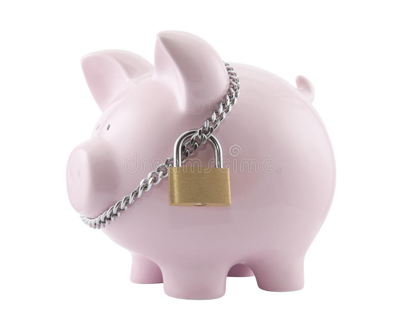 Download Piggy Bank Secured With Padlock Stock Image - Image: 21951273