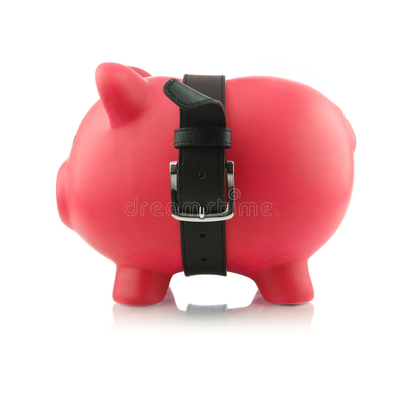 Piggy Bank Series - Tough Finances royalty free stock image