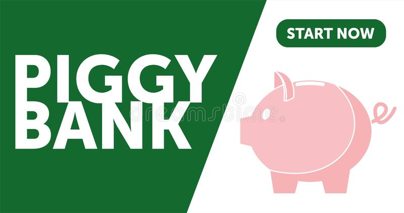 Piggy bank simple vector illustration in flat linework style. WEB PAGE TEMPLATE. DESIGN PIGGY BANK stock illustration