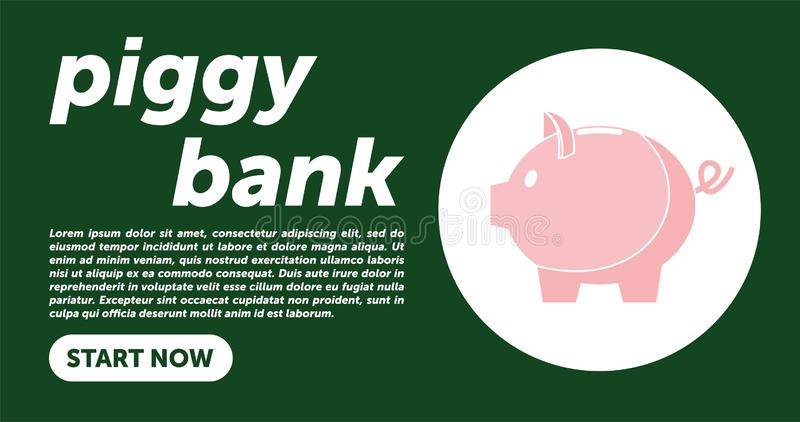 Piggy bank simple vector illustration in flat linework style. WEB PAGE TEMPLATE. DESIGN PIGGY BANK royalty free illustration