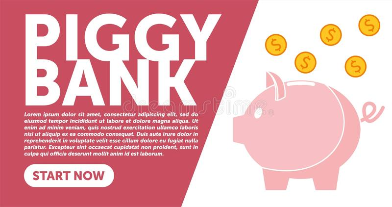 Piggy bank simple vector illustration in flat linework style. WEB PAGE TEMPLATE. DESIGN PIGGY BANK vector illustration