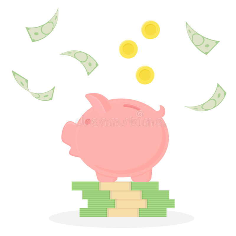 Piggy bank on a stack of money. Falling banknotes and coins. Money rain. vector illustration
