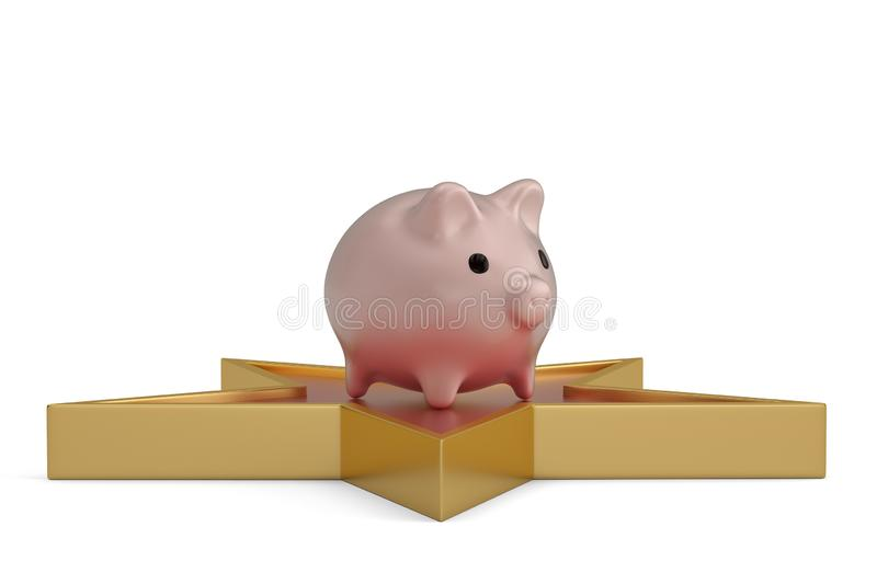 Piggy bank and star isolated on white background. 3D illustration.  royalty free illustration