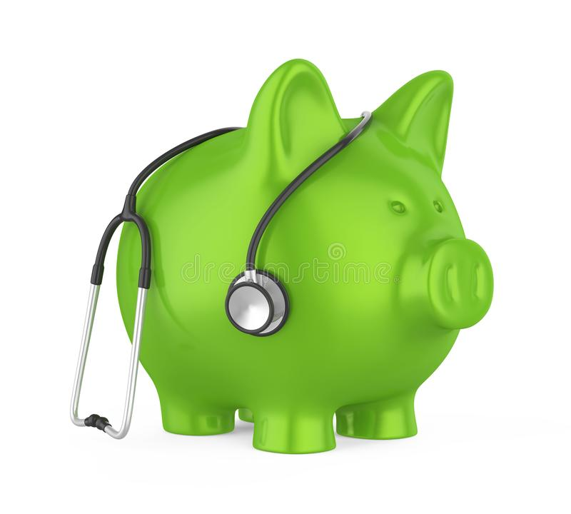 Piggy Bank and Stethoscope Isolated. On white background. 3D render vector illustration