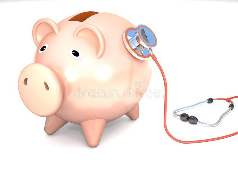 Piggy bank and stethoscope. Piggy bank and stethoscope are on white background royalty free illustration