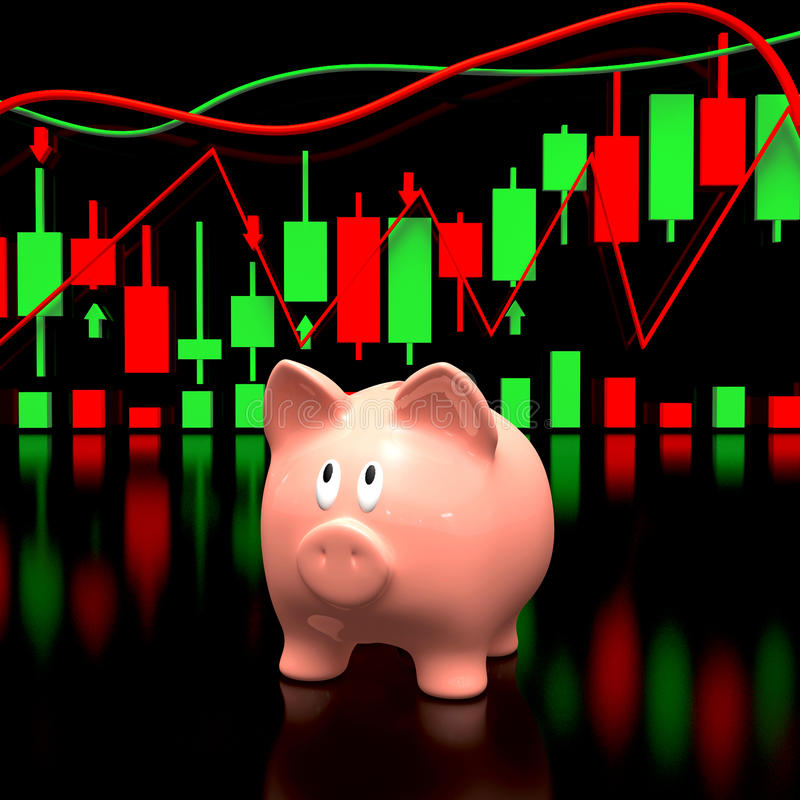 Piggy bank and stock chart. stock photo
