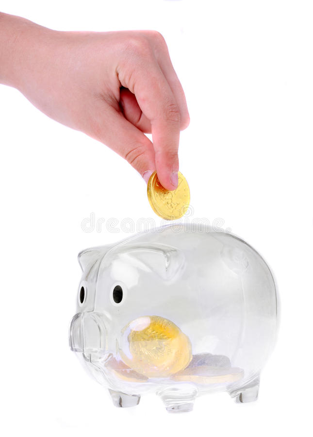 Piggy bank style glass moneybox royalty free stock image