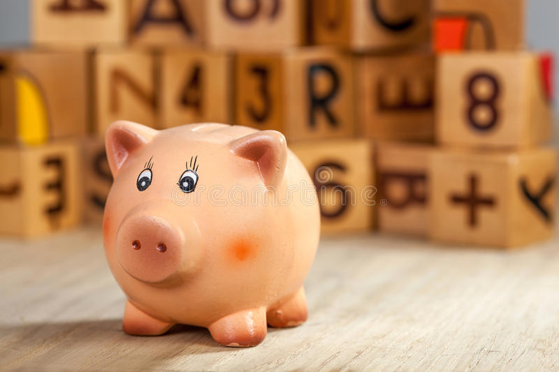 Piggy bank on a table stock image