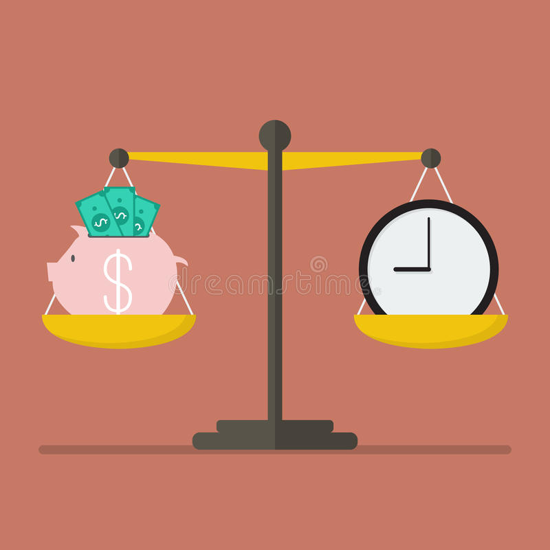 Piggy bank and Time balance on the scale. Money saving concept stock illustration
