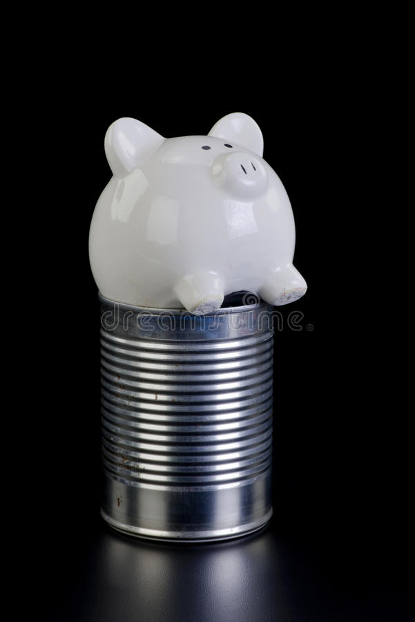 Piggy Bank and Tin Can. royalty free stock photo