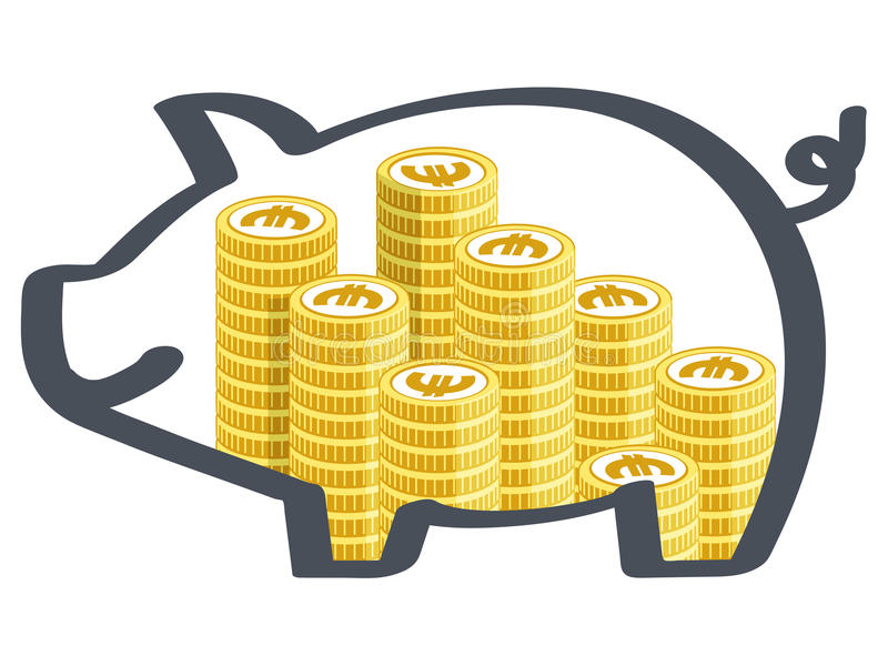 Piggy bank. Transparent piggy bank with money stock illustration