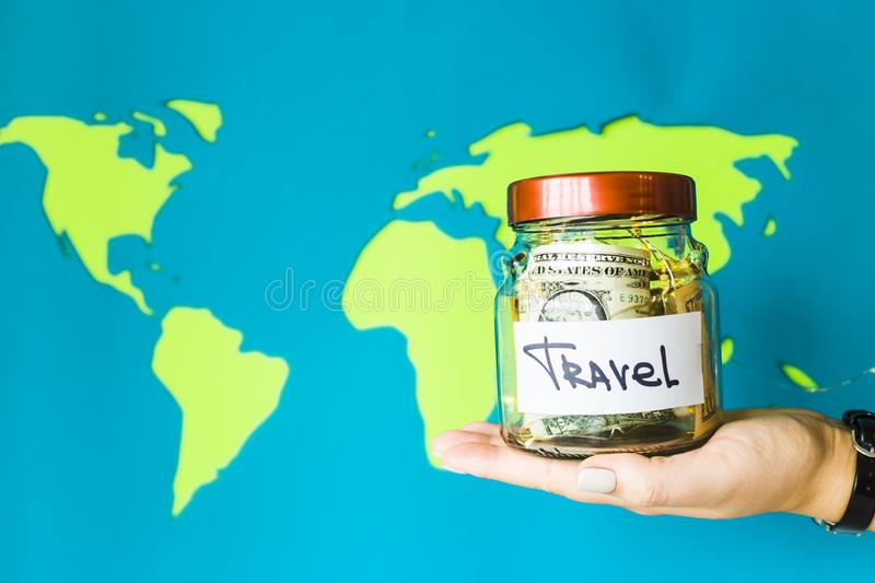 Save money for the trip. concept stock images
