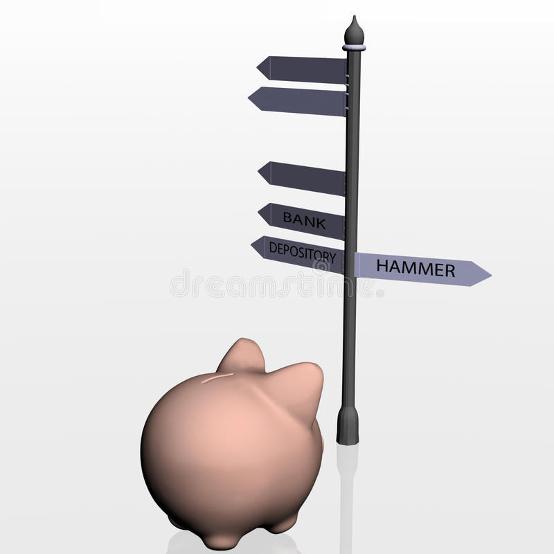 Download Piggy Bank And Travelling Pointer Stock Illustration - Illustration: 22401647