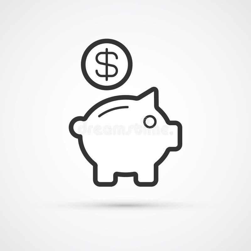 Piggy bank flat line trendy black icon. Vector eps10 vector illustration