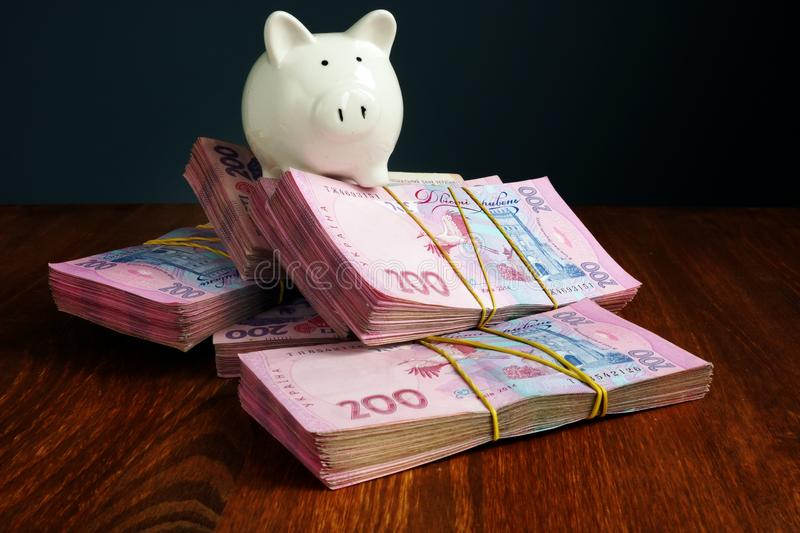 Piggy bank on Ukrainian banknotes hryvnia as symbol of savings in Ukraine. Piggy bank on Ukrainian banknotes hryvnia UAH as symbol of savings in Ukraine royalty free stock photos