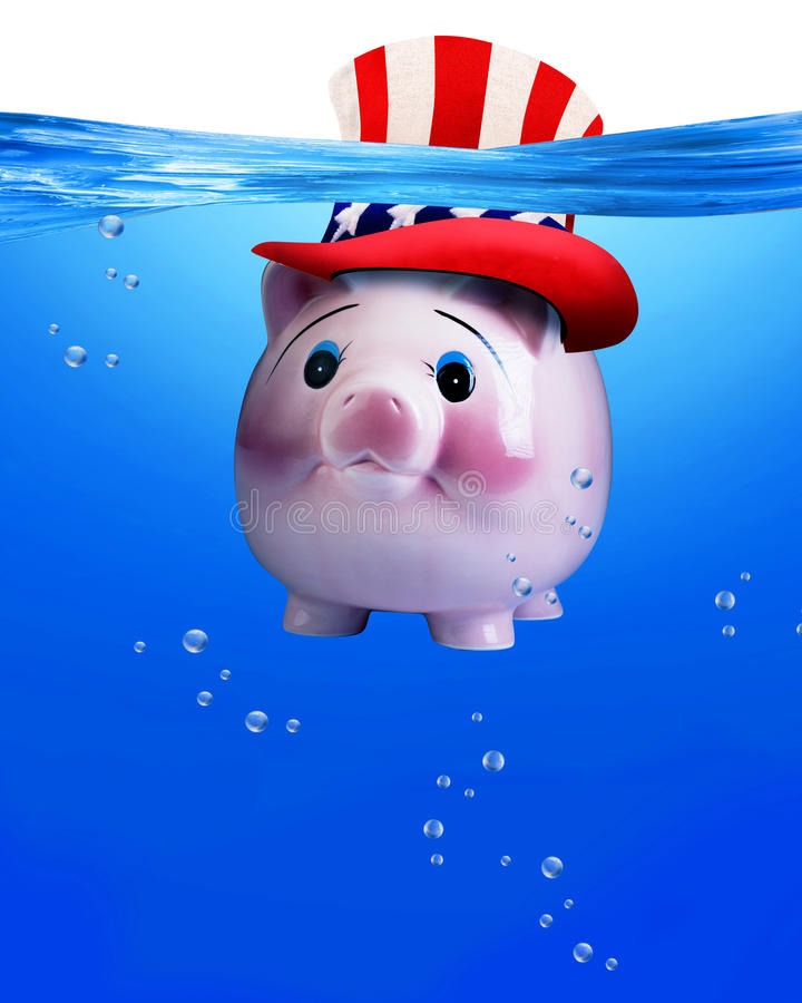 Piggy bank under water. stock images