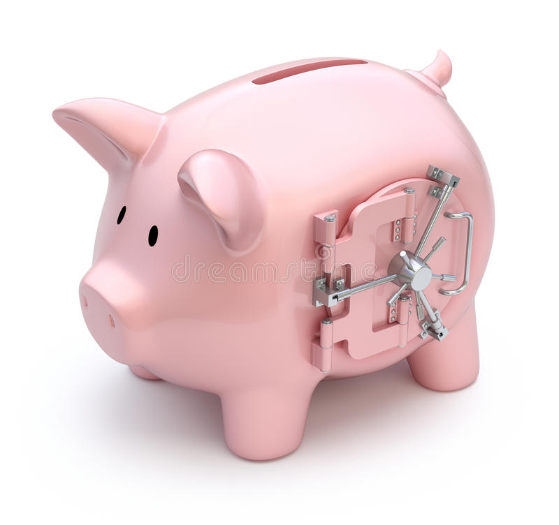 Piggy bank with vault door vector illustration