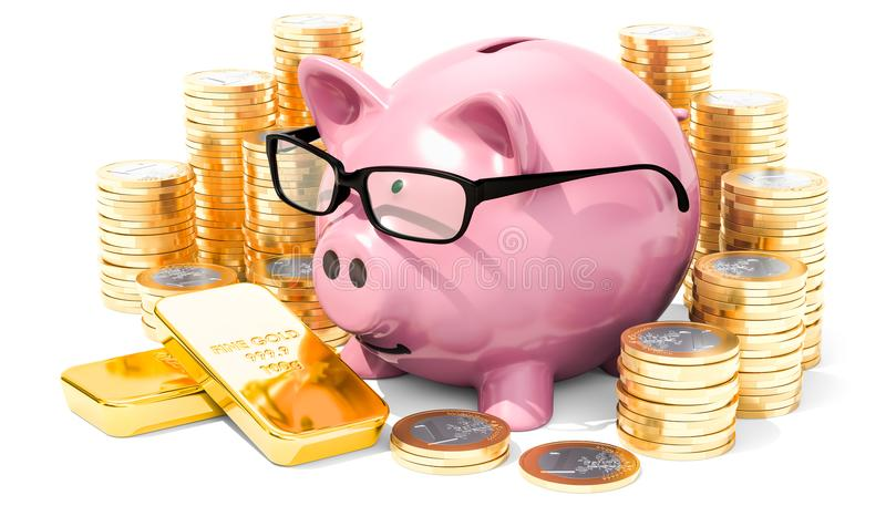 Piggy bank wearing eyeglasses with golden coins and gold ingots, 3D rendering stock illustration