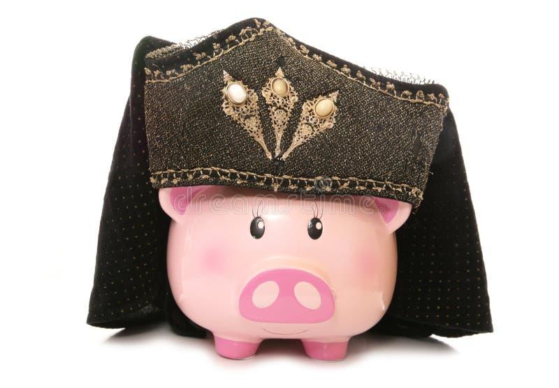 Piggy bank wearing tudor headdress. Cutout stock images